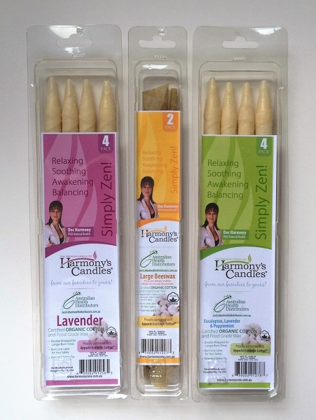 HARMONY'S EAR CANDLES – Natural Beeswax Ear Candles and Cones – 100% Certified Organic Cotton – ARTG 216666