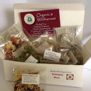 Herbal Tea Sampler Box for yourself or gift idea. Contains 30 single cup tea samples , ball and chain tea strainer and a mini pot ointment. Includes all our signature blends.
