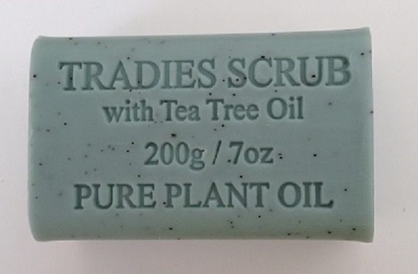 Tradies Scrub Natural Botanical Soap 200gm - Heavy duty Ingredients with Coconut Shell. Essential Oils of Eucalyptus, Lemon Tea Tree and Lemon Myrtle. Great for gardeners too!
